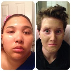 I would look like I have a sweaty face … #facialmask #awesome #girlsnight ;) @roargmonster