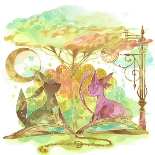 alternativepokemonart:  Artist Espeon and Umbreon by request.