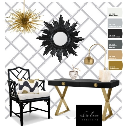 Small Spaces- Home Office  Accents with gold and black