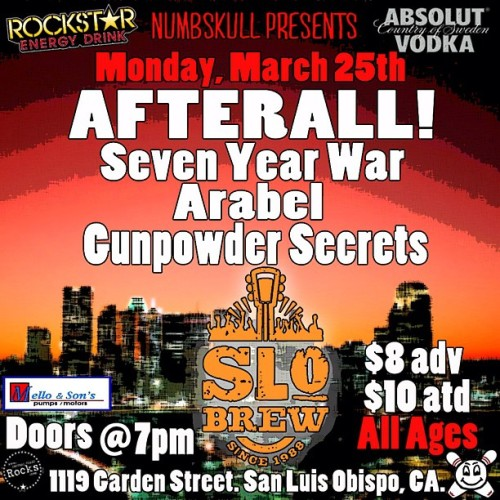 SUPER stoked to be playing with our boys @seven_year_war and Afterall! at @slobrewingco on Mon, March 25th!!