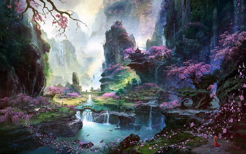 colorful fairy land chinese japanese places quite calm neat