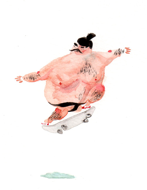 Skateboard sumo. I painted this for someone who likes skateboarding.