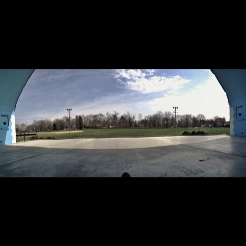 #panorama #bandshell #clouds #sky #sun #field #grass #trees #concrete #blue