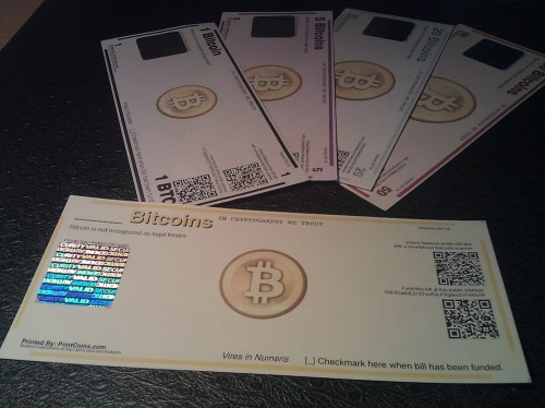 "new-aesthetic:  ""PrintCoins are a way to bring your bitcoins into the physical world. PrintCoins come in a variety of denominations, each with their own color scheme based on standard poker chip values. And they are printed on 24lb paper that is made from 100% cotton."" PrintCoins - Physical Bitcoins Bills For Your Your Wallet  ANY CURRENCY THAT REQUIRES YOU TO ""CHECKMARK HERE"" SURE SEEMS LEGIT TO ME"