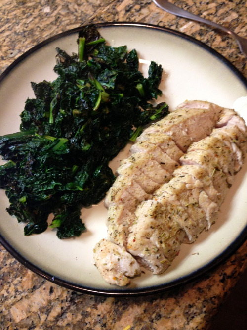 Dinner: massive turkey breast and kale