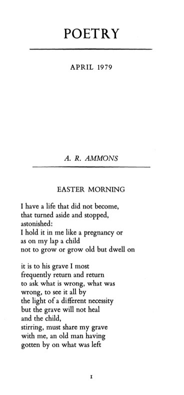 "poetrysince1912:  —A.R. Ammons, Poetry, April 1979At the Best American Poetry blog, Roger Gilbert takes fills us in on the ""life that did not become,"" and quotes Ammons on ""one of the formative events of his childhood"": The most powerful image of my emotional life is something I had repressed and one of my sisters lately reminded me of.  It was when my little brother, who was two and a half years younger than I, died at eighteen months.  My mother some days later found his footprint in the yard and tried to build something over it to keep the wind from blowing it away.  That's the most powerful image I've ever known.  Read the rest of the poem."