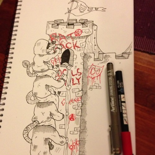 Rat Stack at the South Tower of Rat Pack Castle #sketchbook #illustration #art #cheeks #ratpack