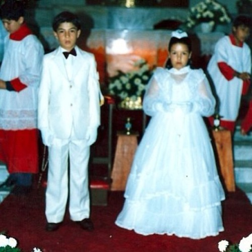 Flashback Friday - 1987 My cousin & I had a joint First Communion. I looked so serious. And that dress…