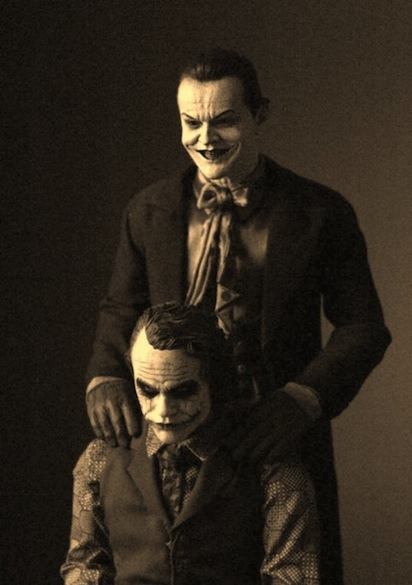 Heath Ledger and Jack Nicholson  Gaunted Photography is behind the photo (with editing from talented photographer and aspiring filmmaker Marv J. Thompson)