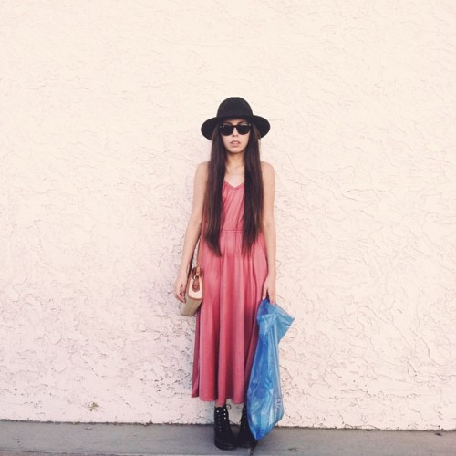 orangemilkpeel:  Living in dresses this summer 😎 | thrifted dress, boots & bag, h&m hat, ray-ban sunnies | #judgeme #ootd #thrift #wiwt  (at SAS Fabrics by the Pound)