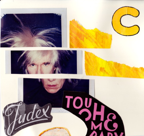 Today I made collages. In this one, Andy Warhol wants to be touched.  Good for you, Andy.