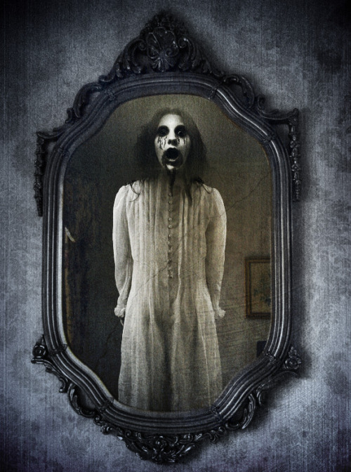 "the-woman-in-white:  Bloody Mary is a folklore legend consisting of a ghost or spirit conjured to reveal the future. She is said to appear in a mirror when her name is called multiple times. The Bloody Mary apparition may be benign or malevolent, depending on historic variations of the legend. The Bloody Mary appearances are mostly ""witnessed"" in teenage group participation games, often as part of a game of truth or dare. Historically, the ritual encouraged young women to walk up a flight of stairs backwards while holding a candle and a hand mirror, in a darkened house. As they gazed into the mirror, they were supposed to be able to catch a view of their future husband's face. There was, however, a chance that they would see a skull (or the face of the Grim Reaper) instead, indicating that they were destined to die before they married. In the present day, the summoning ritual requires that the lead participant must not look directly for Bloody Mary, but at their own image in the mirror. Variations of the incantation ritual involves: the number of times Bloody Mary's name is called; spinning (or not) after every repetition of the name; and the adding of the phrase ""I've got your baby."" The modern ritual addition of taunting Bloody Mary regarding her baby indicates the legendary figure's tenuous connection to Queen Mary I, also known as ""Bloody Mary"", whose life was marked by a number of miscarriages or false pregnancies Bloody Mary allegedly appears as a corpse, a witch or a ghost; sometimes covered in blood. The lore surrounding the ritual (if she is summoned properly) states that participants may endure the apparition screaming at them, cursing them, strangling them, stealing their body or soul, drinking their blood,or scratching their eyes out"