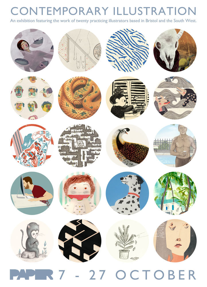 megan-clarke:  Some of my illustration work will be exhibited alongside 19 other illustrators in a group exhibition this coming Tuesday 7th. Its looking to be a real eye treat, so get yourself down to Paper Arts Gallery in Bristol to view all of the stuff. There will also be prints available, so you can buy some of the lovely stuff.