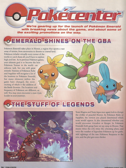 pokescans:  PokéCenter article previewing Pokémon Emerald, from Nintendo Power volume 190 (Page 94.)