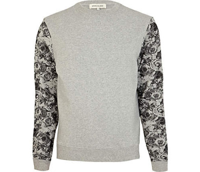 GREY CONTRAST FLORAL SLEEVE SWEATSHIRT from RIVER ISLAND