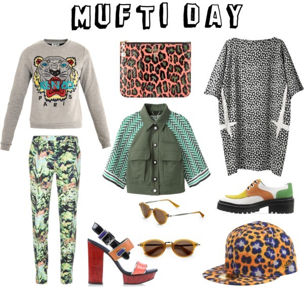 mufti day by charlie-fi featuring logo sunglassesKenzo  dress / Kenzo  / Kenzo  / Kenzo multi colored sandals / Kenzo  / Kenzo , $195 / Kenzo logo sunglasses / KENZO / Kenzo X New Era Leopard Print Fitted Baseball Cap