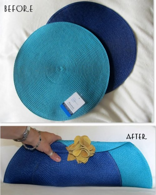 truebluemeandyou:  DIY Placemats to Clutch Tutorial from Wobisobi here. Also there is a secret pocket inside the clutch. I have seen so many placemat purses but I really like the shape of this one using the round mats. For hundreds of more DIY bags go here: truebluemeandyou.tumblr.com/tagged/bag  She's so clever!