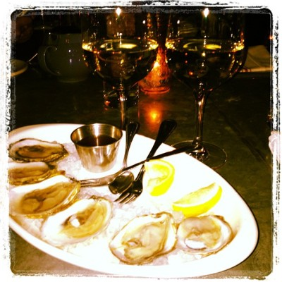 Night cap by @fawadk78  #oysters #chardonnay #monday #foodie #onlyinnyc #yum  (at Joseph Leonard)