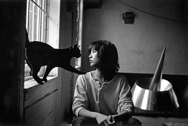 Maya Lin with her cat in her New York studio, 1988 by Michael Katakis (via womenandcats:)