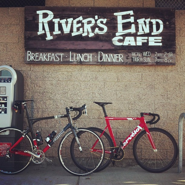 #cervelo #bmc  Photo inspired by @engine11 & @sfcarcano  (at River's End Cafe)