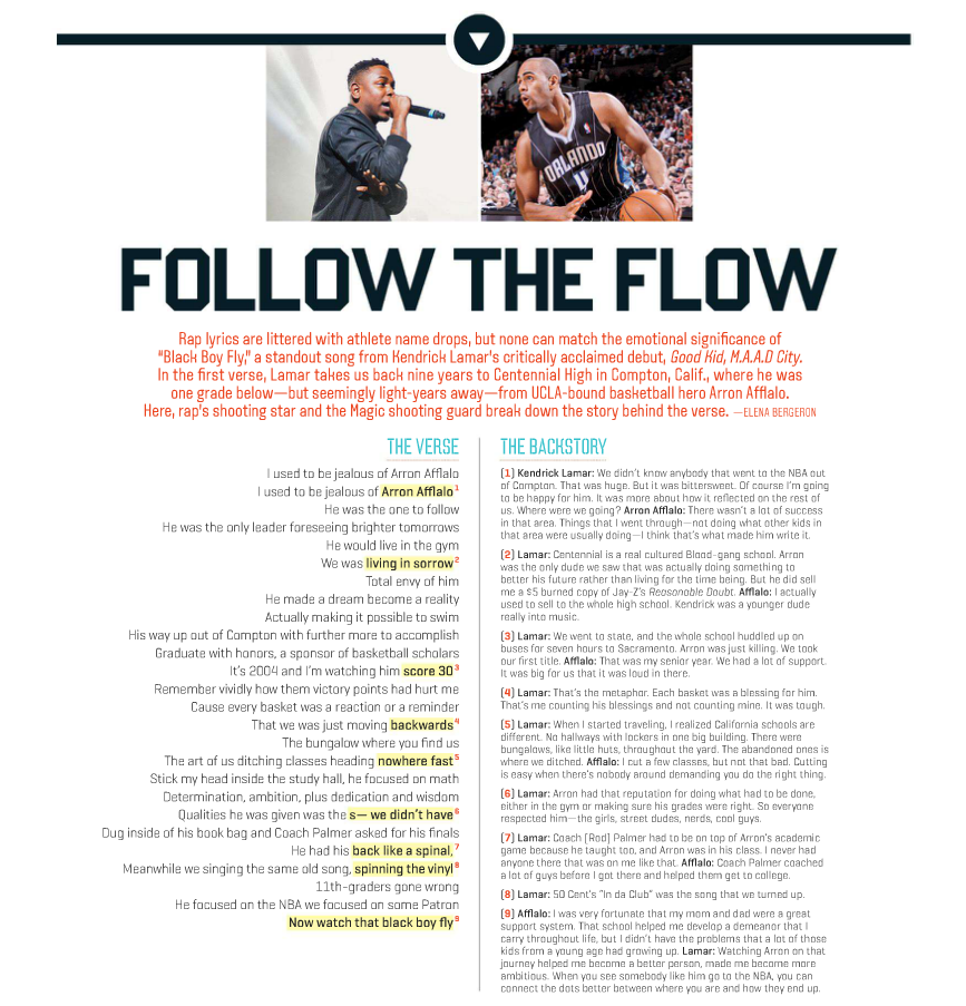 Arron Afflalo & Kendrick Lamar via ESPN The Magazine