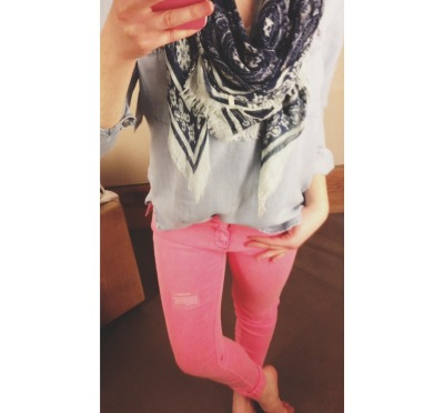 """fitting room fashion"" ootd :)  Top and pink jeans: Anthropologie Scarf: Urban Outfitters"