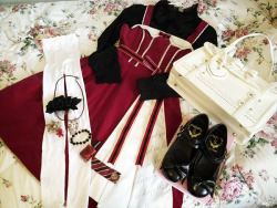 Dress: Angelic Pretty, Blouse: Offbrand, Bag: Taobao, Shoes: Seasons, Tights: American Apparel, Accessories: Offbrand   Planning my outfit for next week with my brand new dress from Angelic Pretty ♥ And yes, I'm still alive!