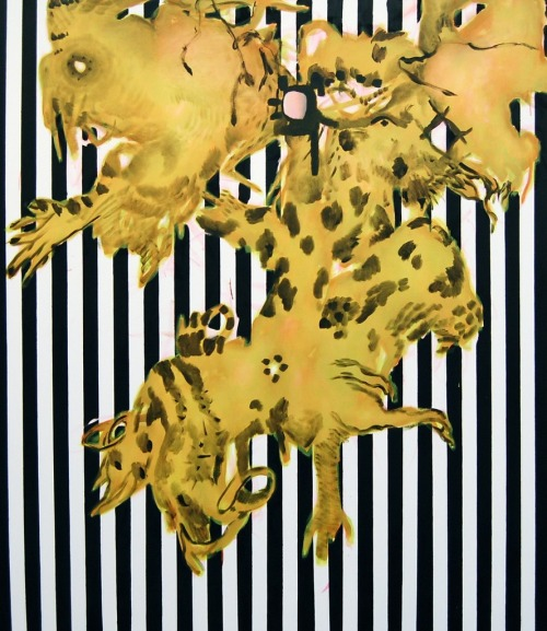 Charline von Heyl, Black Stripe Mojo, 2009. Acrylic and oil on linen, 82 x 78 in.