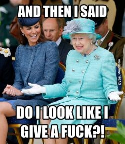 9gag:  Queen Elizabeth just being herself