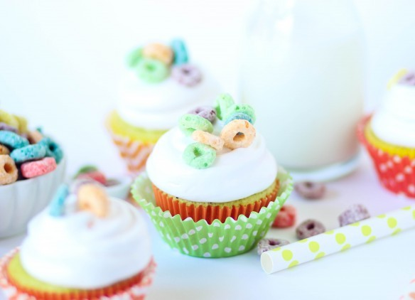 Froot Loop Cupcakes