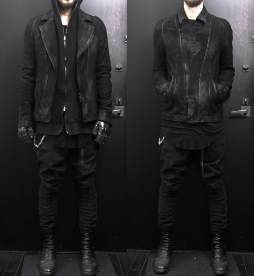 jamesbaik:  julius for atelier ANYX10 leather jacket, viridi-anne hoodie, rick owens shirt, bbs pant, guidi boot, ccp gloves, chrome hearts chain and wallet