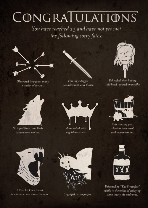 When a client wanted a card for her avid Game of Thrones fan boyfriend, we worked together to create a concept that would make the card a gift in and of itself. What better way to celebrate your birthday than by appreciating all the gruesome ways you haven't died?