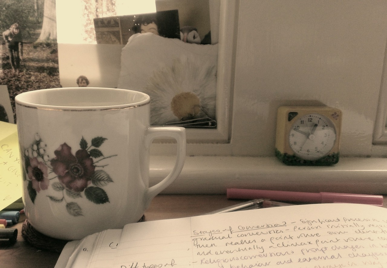 Tea/rain/work (in order of preference). I am losing motivation/hope/energy.