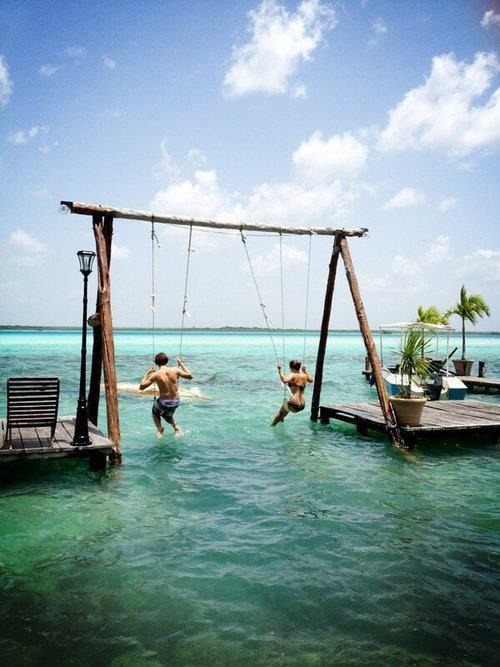 bluepueblo:  Double Sea Swings, The Bahamas photo via belinda  Em to Small Bill: Let's make something like this in Mermaid's Hands!