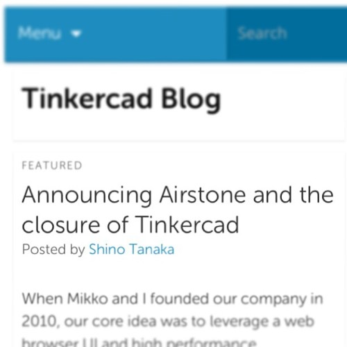 Farewell @tinkercad we are sad to see you go. #3dprinting #design #cad #software