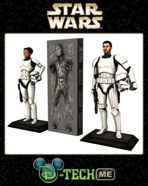 thedailywhat:  Cool 3D Print of the Day: Disney Offers $99 Personalized Stormtrooper 3D Prints As part of its upcoming Star Wars Weekends campaign (May 17th through June 9th), Disney's Hollywood Studios has unveiled a 3D printing station where you can create a Stormtrooper figurine with your own face on it for $99.95. Not feeling like a soldier? There's also an option to have your face cast in carbonite instead.