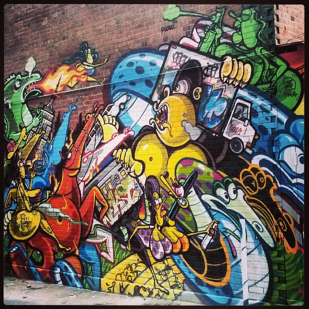There is so much going on in this scene. #NYC #graffiti