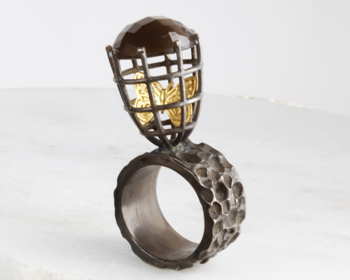 caged butterfly ring Ensnared collection
