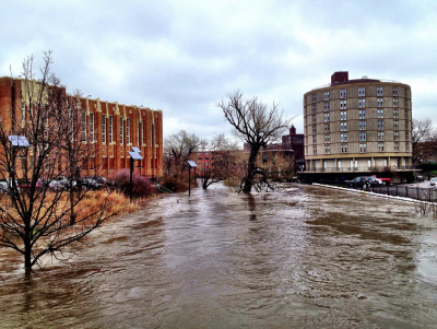 absurdlakefront:  North Branch of Chicago River flooded at Kimball Ave. I hope the rain stops soon…