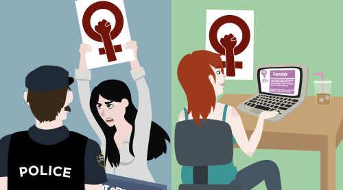 "mumimafeminist:      Feminism has taken its own form online, this is not to say that feminist protests are nonexistent today, or that either is more powerful than the other. But rather that there has been a change in the feminist community where it has been residing on online spaces, such as tumblr, or twitter. The option to organize and exist online hadn't been available when the feminist movement started, but in ways can be better (or worse) than protests. ""Feminism online is entirely normalized. It's pervasive. A generation of young women are growing up with feminism as the default in women's online spaces, and explicitly feminist blogs and communities at their fingertips."" (x)"