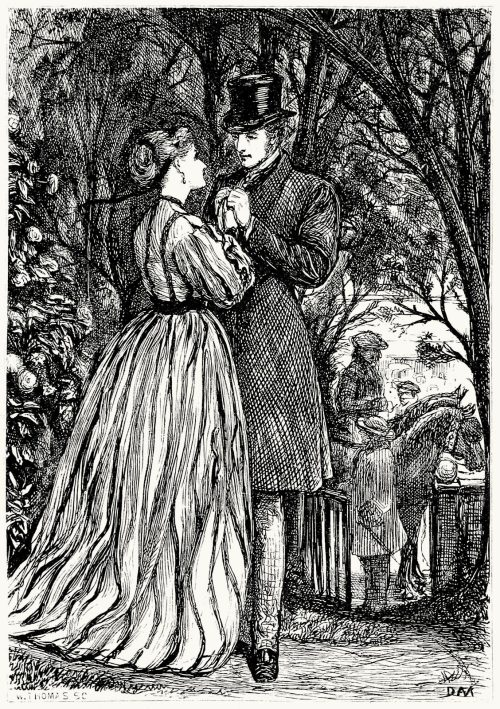 Matilda sprang to him, at once.  George Du Maurier, from Lucile, by Owen Meredith, London, 1868.  (Source: archive.org)