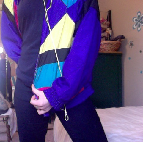 I love this jacket, got it at a thrift store, and I always get so many compliments on it. Though people always say I look like I stepped out of an 90's music video or I jumped a hipster for their windbreaker. Cool.