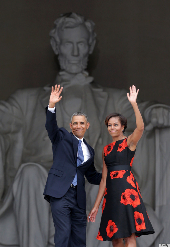 "This has been a busy week where history is concerned.  Fifty years ago yesterday, MLK gave the world his Dream at the March on Washington for Jobs and Freedom.  When I think about that dream, this picture sums it up:  A beautiful Black power couple.  The man is the leader of the free world and the woman is a fashion icon to women of ALL races all over the globe.  The frock she is wearing is by Black designer, Tracy Reese, yet, FLOTUS has worn dresses by designers of all races.  When I think ""content of character"" - these things offer powerful evidence that we are closing in on MLK's dream, more or less.  This moment, and all of the little facts to be gleaned from it, are brought to you by those dreamers at the March On Washington!!"