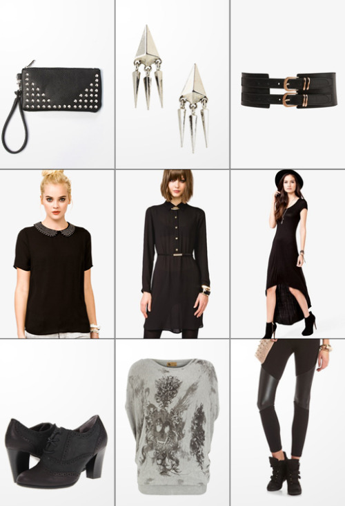 The Haute List :: $25 & Under Studded Wristlet :: BCBG Pyramid Earrings :: Double Buckle Waist Belt :: Studded Peter Pan Collar Top :: Belted Chiffon Shirt Dress :: High-Low Dress Suede Oxfords :: Roses & Skull Sweater Top :: Pieced Pleather Leggings