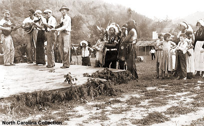 Cherokee people enjoy bluegrass music in turn of the century NC.