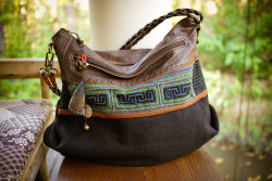 Vintage Hmong Textiles, Hemp and Leather Hobo Bag.