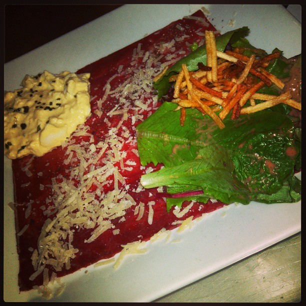 Carpaccio. My life does *not* suck. (at Eurasia Cafe & Wine Bar)
