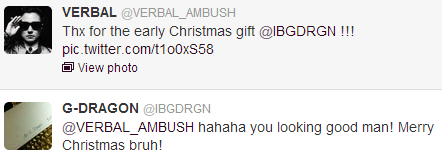 ygfamilyy:  GD x VERBAL (M-FLO) - 121222 Twitter Reply!