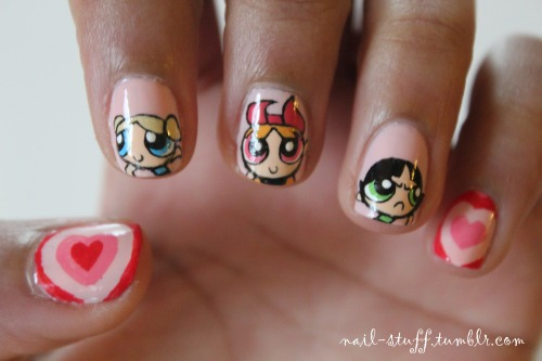 Power Puff Girls nails! I haven't done cartoony nails in a while, so I decided to do these! I used to love this show! For the background I used Peach Pearl by Revlon