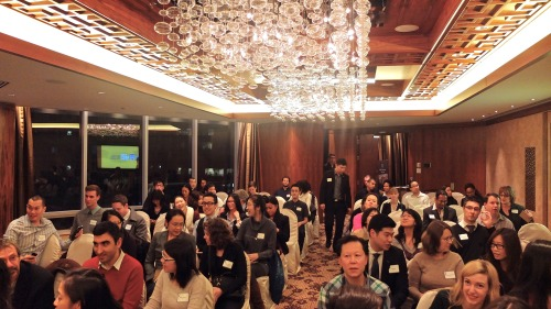 UBC Alumni x The Next Step: Getting Personal x Shangri-La Hotel.    Distinguished alumni (left to right) Michelle Collens, Ian Christie, Sophia Cheng, and moderator Lien Yeung talking networking and personal career development to a engrossed crowd of two hundred UBC graduates.